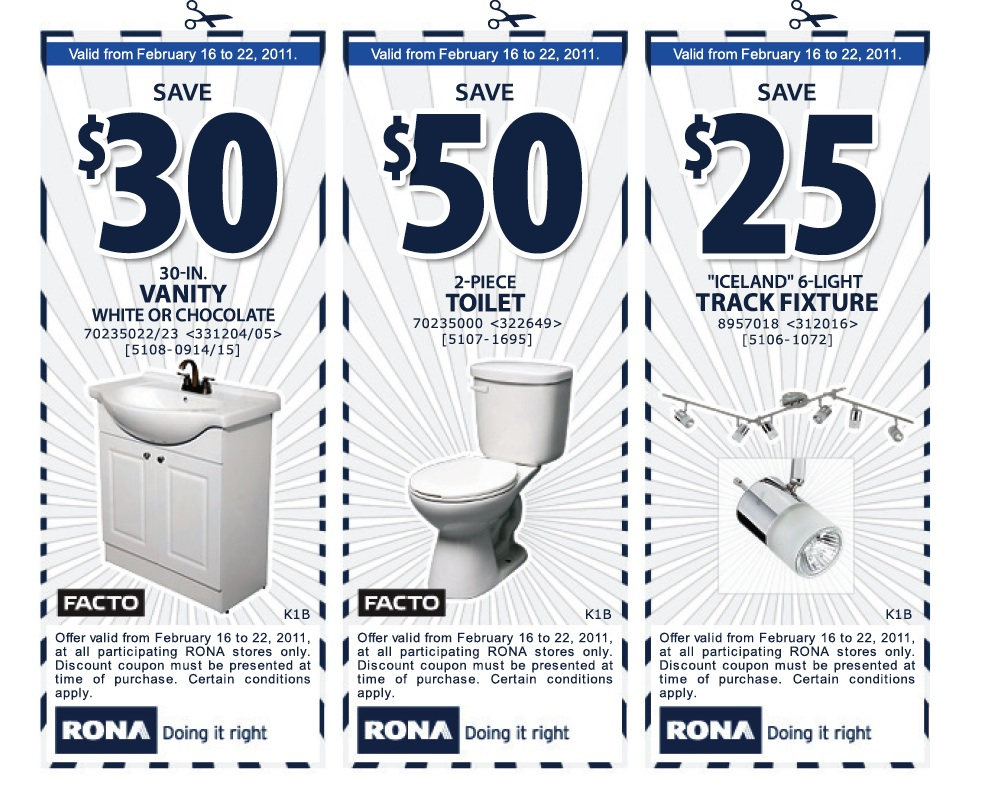 Rona  RONA  3 Coupons    30 off Vanity    50 Off Toilet    25 off Track  LightingRona  RONA  3 Coupons    30 off Vanity    50 Off Toilet    25 off  . Rona Track Lighting. Home Design Ideas